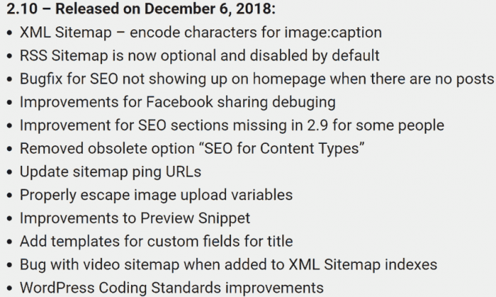 All In One SEO Pack Changelog